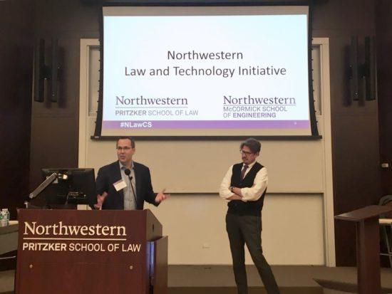Professors Dan Linna and Kris Hammond kick off the Northwestern Law and Technology Initiative meeting at Northwestern Pritzker School of Law on September 5, 2019.